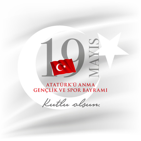 19 mayis Ataturk'u Anma, Genclik ve Spor Bayrami greeting card design. 19 May Commemoration of Ataturk, Youth and Sports Day. Vector illustration. Turkish national holiday. Commemorate Mustafa Kemal's landing at Samsun on May 19, 1919, which is regarded as the beginning of the Turkish War of Independence in the official historiography. 写真素材 - 124122400