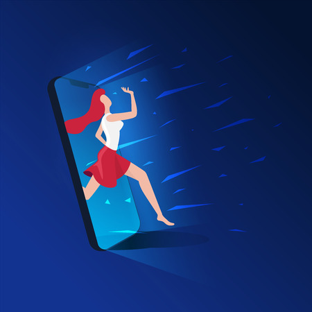 Young beautiful girl is coming out of the cell phone screen. Escape from digital addiction concept. Vector illustration.