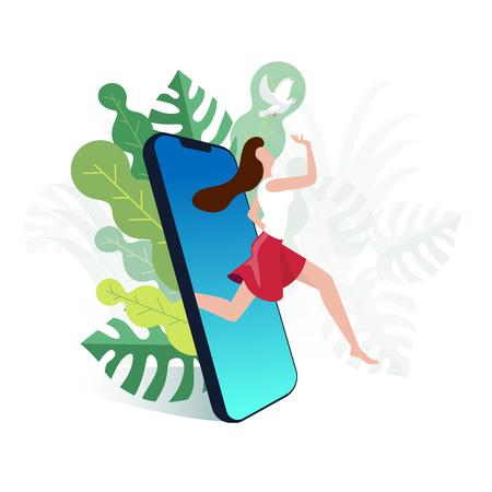 Ella está saliendo del celular. Escapa de las adicciones del mundo digital y vuelve a la naturaleza. Ilustración de vector.