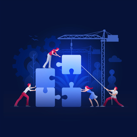 Vector illustration people are building a new achievements with jigsaw puzzle. Business teamwork concept. People characters are working together. Financial success, cooperation or building concept.