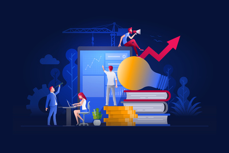 Vector illustration people are working on marketing and financial issues together on large screen and building a new achievements. Business finance, investment and teamwork concept.