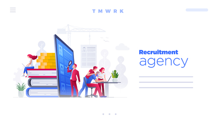 Web site page design template. Vector illustration people are working on hiring, human resources and recruitment together. Concept illustration.