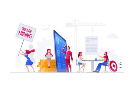 Les gens d'illustration vectorielle travaillent ensemble sur l'embauche, les ressources humaines et le recrutement. Illustration de la notion.