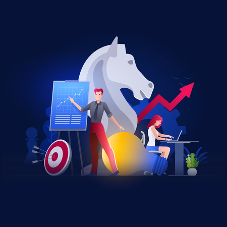 Vector illustration people are working on strategic planning, financial issues or marketing strategies together. Business finance, investment and teamwork concept. Vettoriali