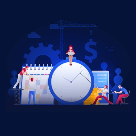 Vector illustration people are working on financial issues together on clock and calendar. Business time management  and teamwork concept.