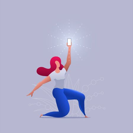Beautiful girl holds up a shimmering phone. Woman is holding the phone above. Vector concept illustration. Stok Fotoğraf