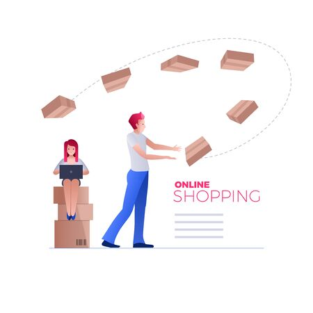 Online shopping on smartphone or digital tablet. E-commerce concept vector illustration. Quick shopping and fast delivery. Stock Photo