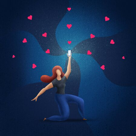 Beautiful girl holds up a shimmering phone. Woman is holding the phone above. Concept illustration.  Stok Fotoğraf
