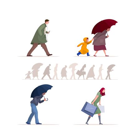 People walking in the rain. Rainy day in autumn season. Man, woman and kid characters vector flat illustration collection.