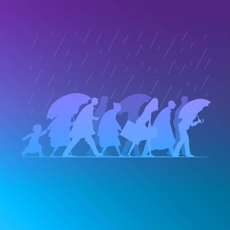 People walking in the rain. Rainy day in autumn season. Man, woman and kid silhouette characters vector flat illustration. Çizim