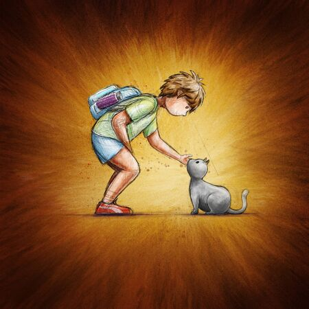 Little school boy and cat. Friendship concept illustration.