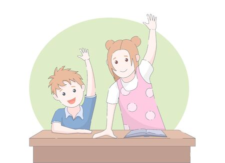 Two smiling young school children arms raised in class. Vector illustration. 写真素材 - 132018032