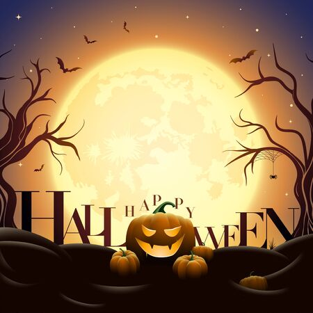 Creepy Halloween midnight illustration. Pumpkins under full moon. Bats are flying. Elements are layered separately in vector file. Ilustração