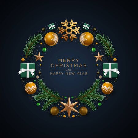 Merry Christnas and happy new year greeting card. Christmas wreath design with festive Christmas decoration ornaments and objects. Vector illustration. Illustration