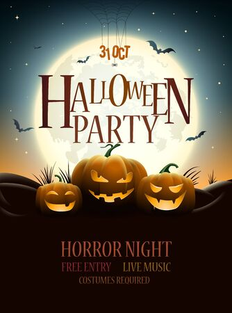 Halloween Party Poster Design. Pumpkins under full moon. Bats are flying. Elements are layered separately in vector file.