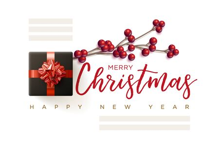 Merry Christmas and New Year greeting card design. Christmas berry branch, gift box and text space. Vector illustration. Elements are layered separately in vector file.
