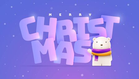 Little cute bear and Christmas, New Year greeting. Vector character illustration. Elements are layered separately in vector file.