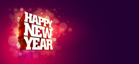 Vector 3D Happy New Year greeting design. Elements are layered separately in vector file.