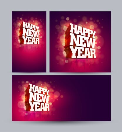 Vector 3D Happy New Year greeting design set. Elements are layered separately in vector file.