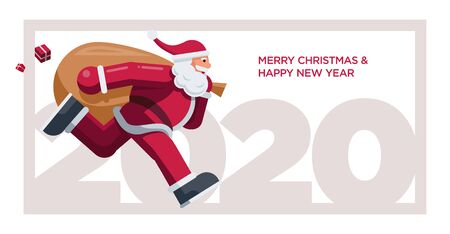 Santa Clausn running year 2020. Vector greeting design for Christmas and New Year 2020