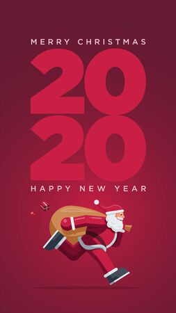 Santa Claus running year 2020. Vector greeting design for Christmas and New Year 2020 Illustration