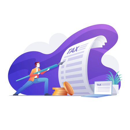Businessman holding a pen like spear. The man stands in front of the big tax form papers and laptop. Bright vibrant purple isolated vector illustration.