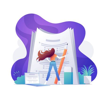 A self-confident woman standing on big papers. Education, exam, poll, success concept. Bright vibrant purple isolated vector illustration.