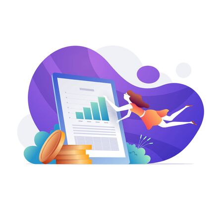 Female financial analyst doing income statement with large screen. Company financial statement, income statement, balance sheet concept. Bright vibrant purple isolated vector illustration. Vettoriali