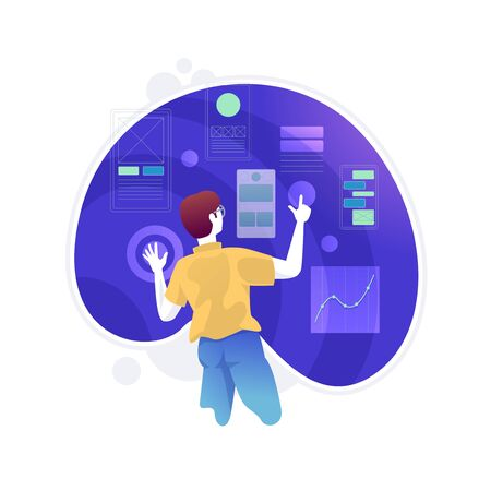 Developers are improving Ux User Experience Development Design Usability. Developers are making developing programming and coding technologies concept. UX UI User Interface and User experience process. Vector illustration Vetores