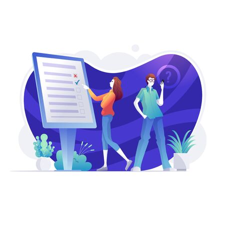 Online survey, Business people are completing online survey form on smartphone screen. internet questionnaire form, marketing research tool and target audience survey.