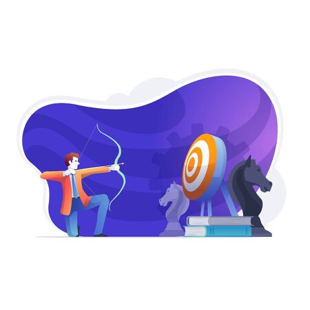 Business man, is throwing an arrow on the target board. Business targets succeed with strategic ideas and yields profit. Business concept vector illustration. Illustration