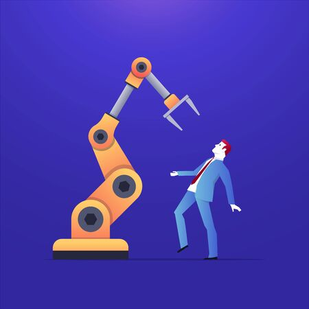 Illustration of how is big the presence of artificial intelligence. The robot is holding the woman by hand. Robots are able to do what people do for work.