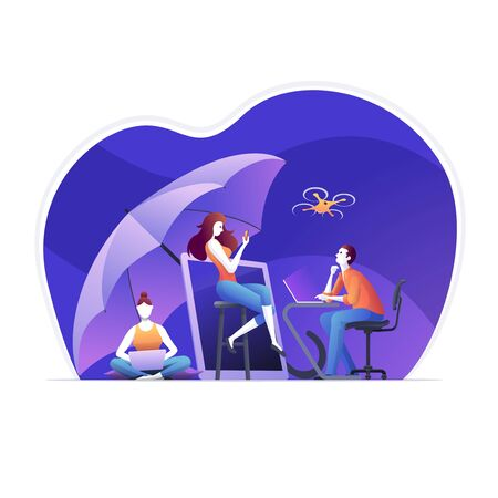 Businesspeople, are using electronic device insurance what they have owned, equipment under umbrella protection. Protection of workers is ensured with the occupational health and safety system. Vector illustration