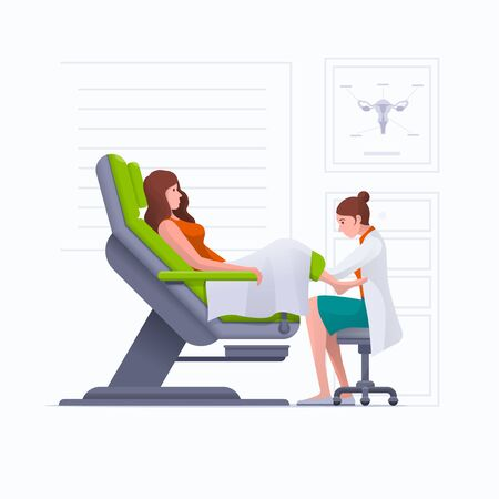 A gynecologist is examined by a patient who is sitting in a gynecological examination chair. Pregnancy, woman, gynecology, medicine, health care concept vector illustration. Easy editable global colors. Elements are layered separately in vector files.