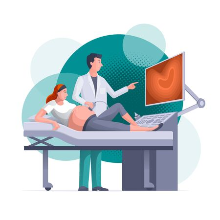 Pregnant woman is getting ultrasound scan from obstetrician in clinic. Pregnancy, gynecology, medicine, health care concept vector illustration. Easy editable global colors. Elements are layered separately in vector files.