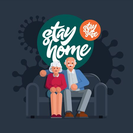 Happy elderly couple sitting on a sofa together at home. Corona virus pandemic awareness social media campaign and coronavirus prevention. Stay home and stay safe banner on background.