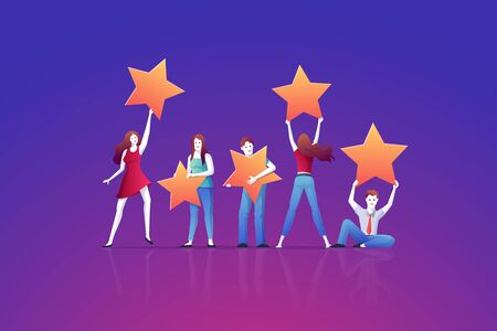 People holding rating stars. Customer reviews concept vector illustration. consumer feedback or customer review evaluation, satisfaction level and positive vote.