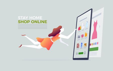Online shopping on smart phone, digital tablet or laptop. E-commerce concept vector illustration. Stay at home and shop online.