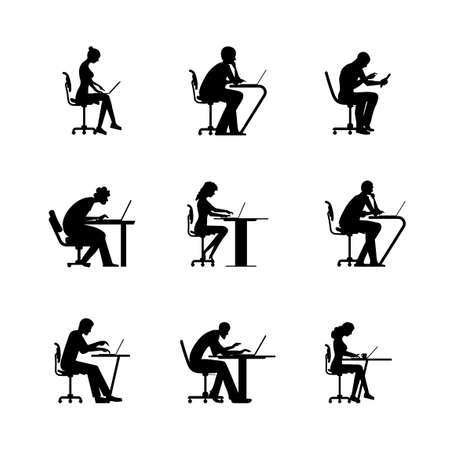 Working people icon collection. Men and women are sitting and working on desk. Silhouette people illustration set.