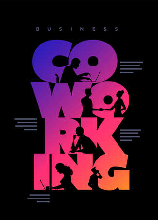 Co-working business concept poster design template. Working silhouette people using laptops and shaking hands in the colorful 'Co-working' word. Vector illustration. Illustration