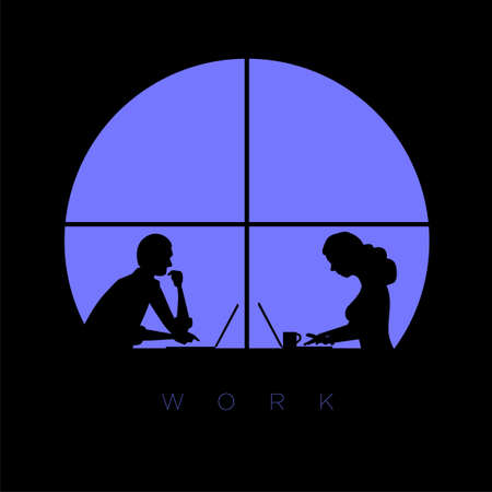 Man and woman works with laptop late at night in the office. Vector concept illustration.
