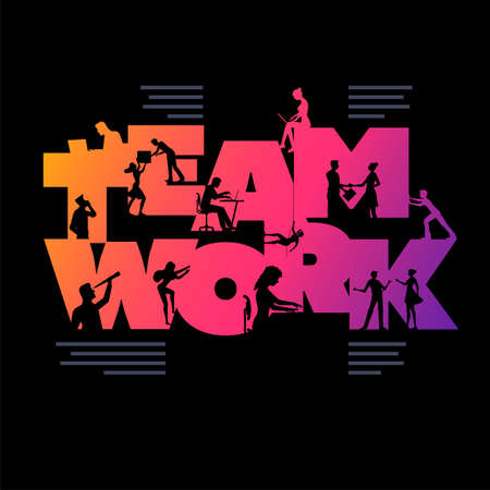 Teamwork business concept poster design template. Working silhouette people using laptops and shaking hands etc. in the colorful 'TEAMWORK' word. Vector illustration.