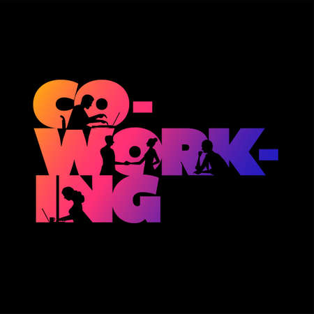 Co-working business concept design. Working silhouette people using laptops and shaking hands in the colorful 'Co-working' word. Vector illustration. Illustration