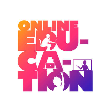 Online education concept typographic design vector. Silhouette students watching lesson, boy raises hand in the lesson and the teacher explains the lesson in laptop.