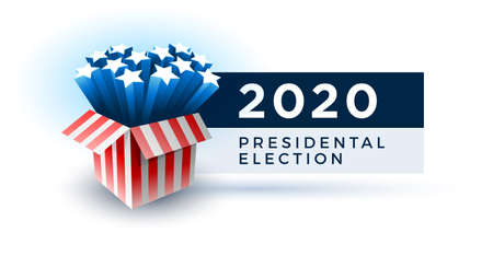 Exploding American stars. Vote 2020 in USA. Typographic vector design. USA debate of president voting. Election voting design. Political election campaign. Illustration