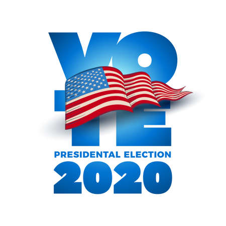 Vote 2020 in USA. Typographic vector design. USA debate of president voting. Election voting design. Political election campaign. Illustration