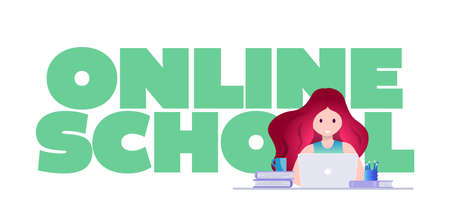 Online education, self learning concept vector illustration. Student studying with laptop.