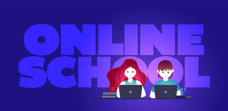 Online education, self learning concept vector illustration. Students are studying with laptop. Illustration