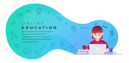 Online education, self learning concept vector illustration. Student studying with laptop. Educational supply line icons set. Illustration