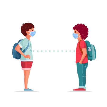 School friends are talking. Medical masked kids standing with social distancing. Children in pandemic times. Covid-19 concept vector illustration.